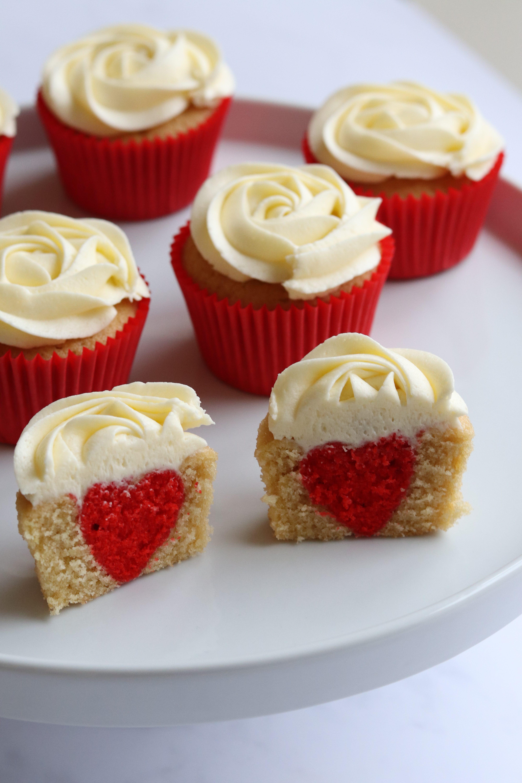 Hidden Heart Valentines Cupcakes