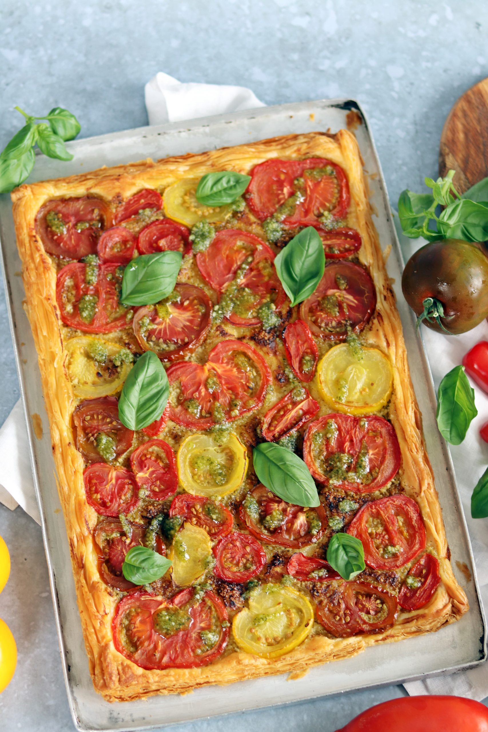 Puff Pastry Tomato Tart with Pesto