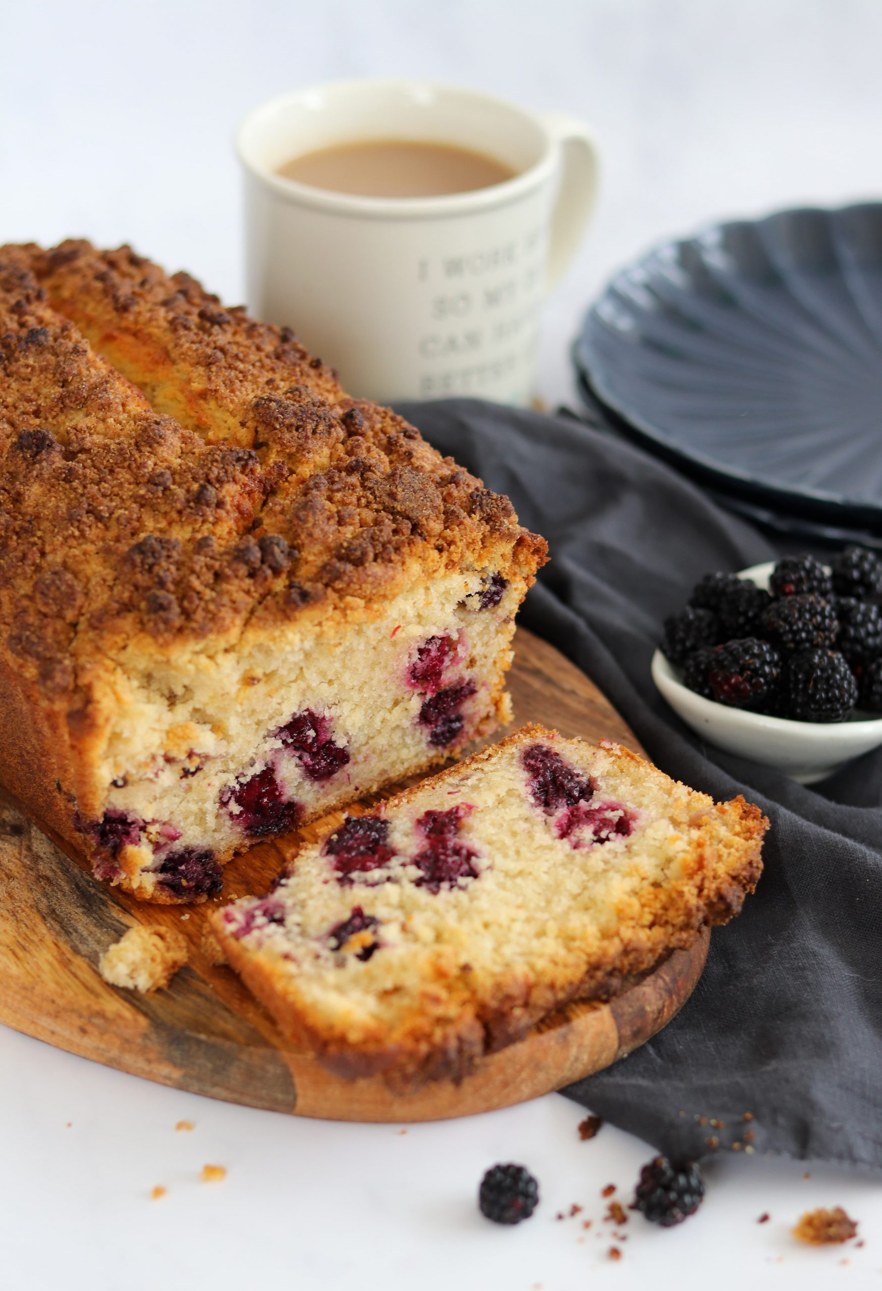 Blackberry Crumble Loaf Cake